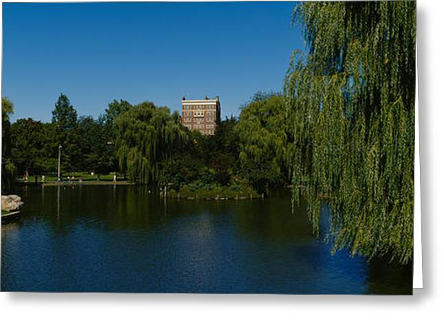 Public Garden Greeting Cards - Lake In A Formal Garden, Boston Public Greeting Card by Panoramic Images