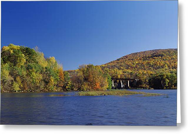 Fall Scenes Greeting Cards - Lake In Front Of Mountains, Arrowhead Greeting Card by Panoramic Images