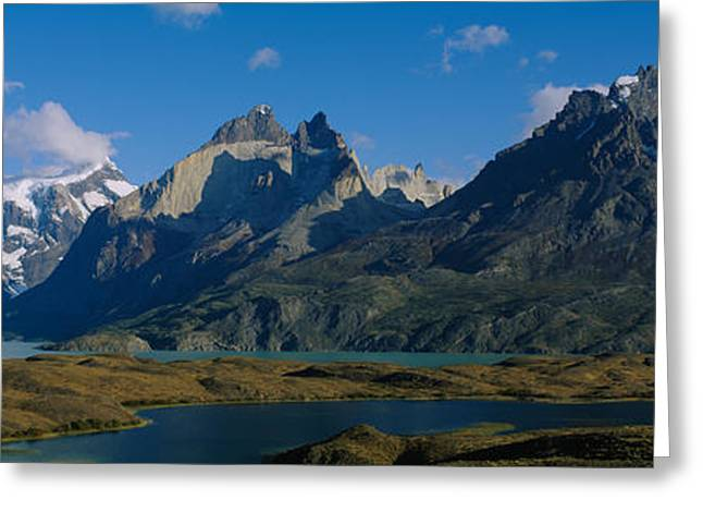 Mountain Greeting Cards - Lake In Front Of Mountains, Jagged Greeting Card by Panoramic Images
