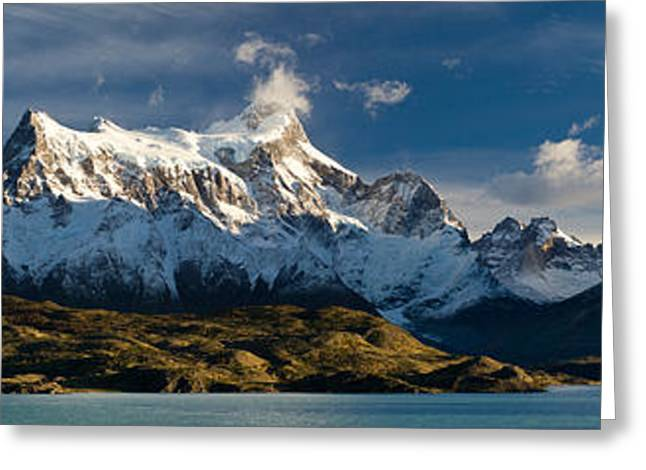Paine Greeting Cards - Lake In Front Of Mountains, Lake Pehoe Greeting Card by Panoramic Images