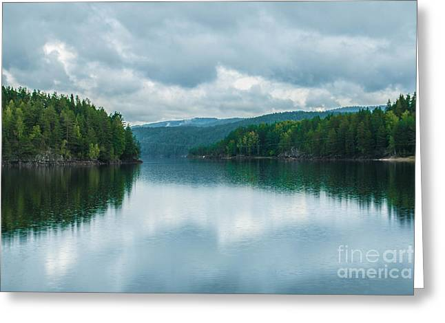 Peaceful Scene Greeting Cards - Lake in Norway Greeting Card by Amanda Mohler