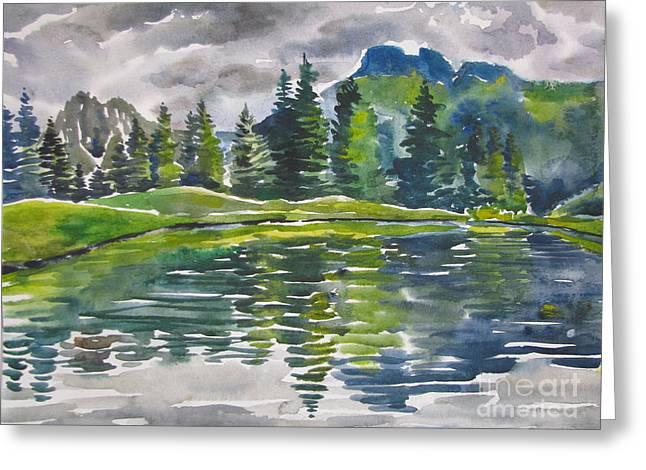 Anna Lobovikov-katz Greeting Cards - Lake in the Mountains Greeting Card by Anna Lobovikov-Katz