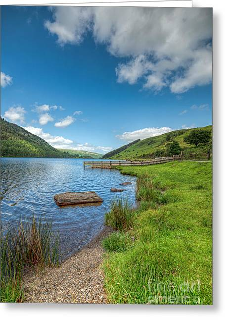 Beach Fence Digital Art Greeting Cards - Lake in Wales Greeting Card by Adrian Evans