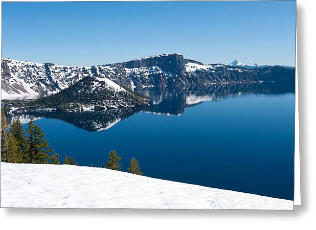 Crater Lake Greeting Cards - Lake In Winter, Crater Lake, Crater Greeting Card by Panoramic Images