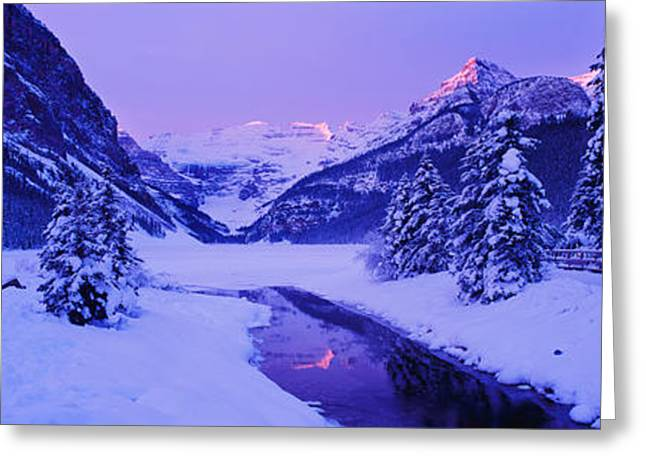 Lake Louise Greeting Cards - Lake In Winter With Mountains Greeting Card by Panoramic Images