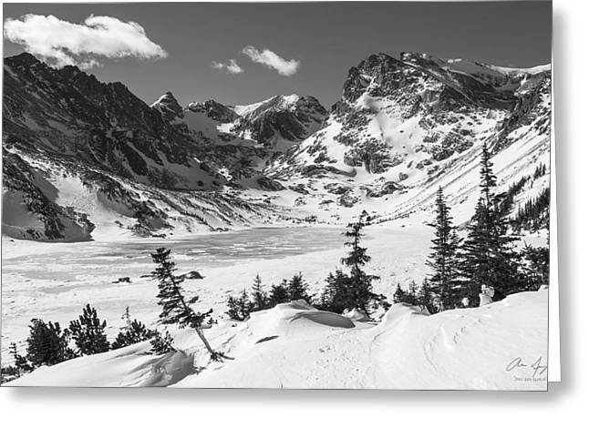Indian Peaks Greeting Cards - Lake Isabell BW Greeting Card by Aaron Spong