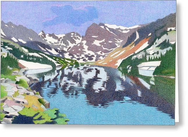 Thunderstorm Drawings Greeting Cards - Lake Isabelle Colorado Greeting Card by Dan Miller