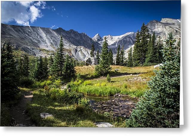 Hiking Greeting Cards - Lake Isbelle Mountains Greeting Card by Michael J Bauer