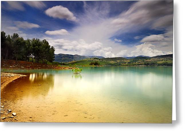 Spain Greeting Cards - Lake islands Greeting Card by Guido Montanes Castillo