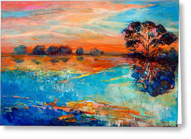 Coppery Greeting Cards - Lake Greeting Card by Ivailo Nikolov