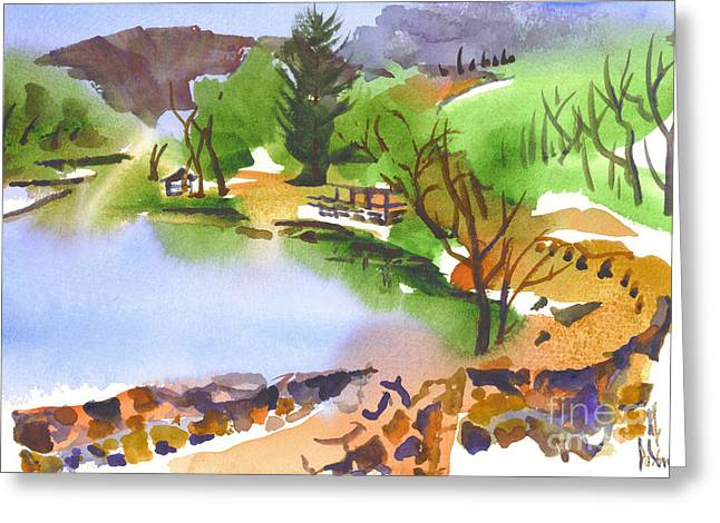 Early Spring Paintings Greeting Cards - Lake Killarney with Rock Wall Greeting Card by Kip DeVore