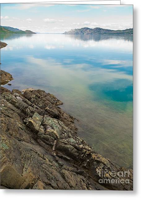 Reflex Greeting Cards - Lake Laberge in Yukon T Canada on calm summer day Greeting Card by Stephan Pietzko