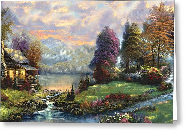 Kinkade Greeting Cards - Lake Land Thomas Kinkade Look-a-like Greeting Card by Jessie J De La Portillo