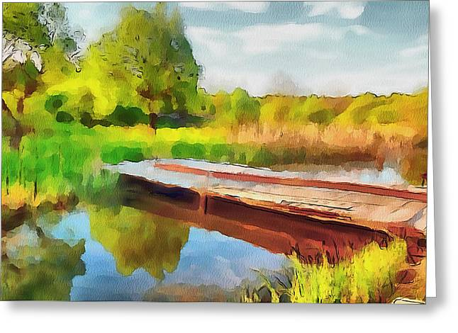 Live Art Greeting Cards - Lake Landscape View Greeting Card by Yury Malkov