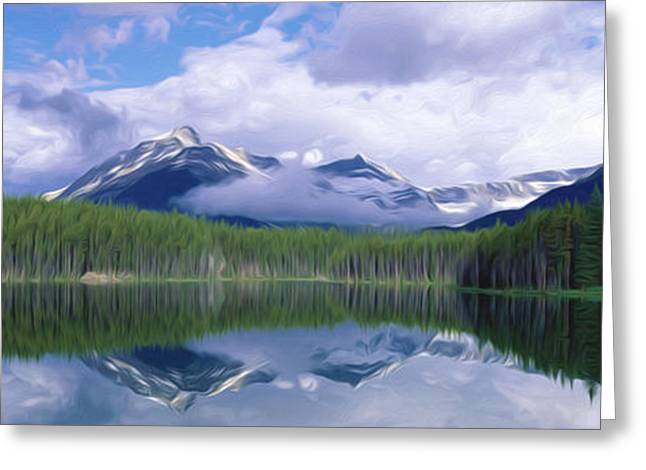 Environment Greeting Cards - Lake landscape with beautiful reflection of a sky Greeting Card by Lanjee Chee