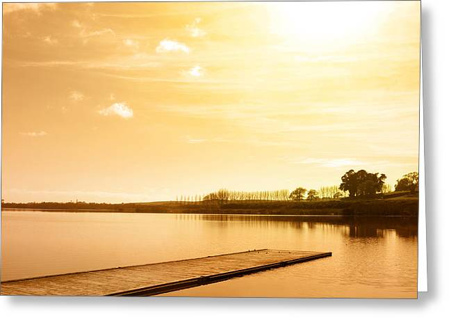 Calm Waters Greeting Cards - Lake Greeting Card by Les Cunliffe