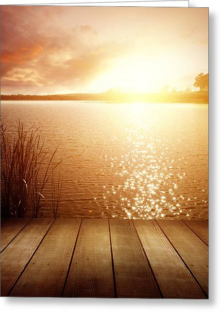 Wood Pier Greeting Cards - Lake light Greeting Card by Les Cunliffe