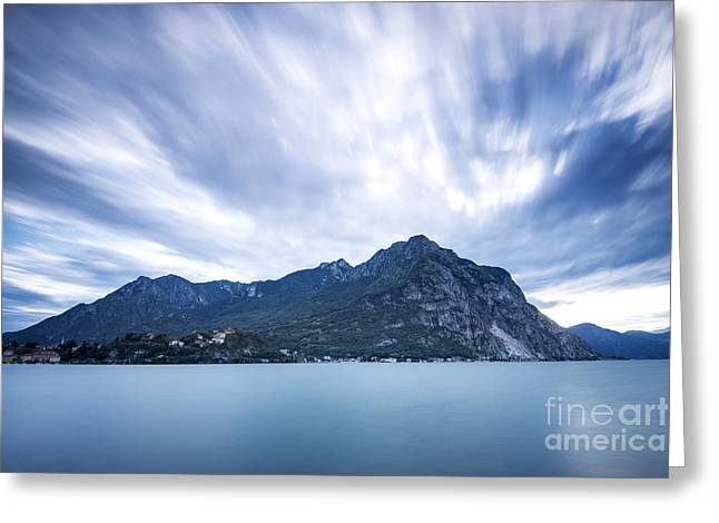 Italian Landscape Pyrography Greeting Cards - Lake long exposure Greeting Card by Riccardo Mojana