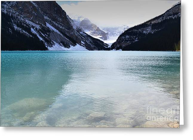 Rocky Mountain National Park Greeting Cards Greeting Cards - Lake Louise Brilliance Colors Greeting Card by Andrea Hazel Ihlefeld