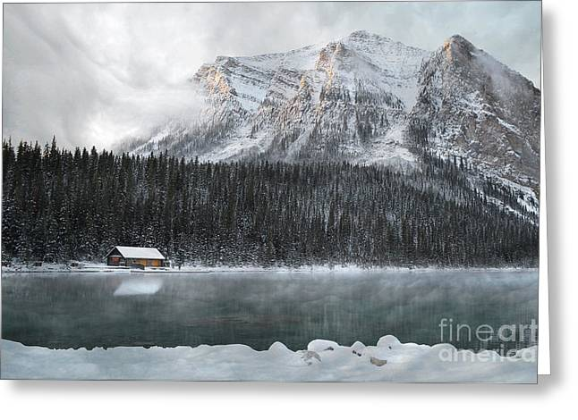 Log Cabins Framed Prints Greeting Cards - Lake Louise Cabin Morning Greeting Card by Andrea Hazel Ihlefeld