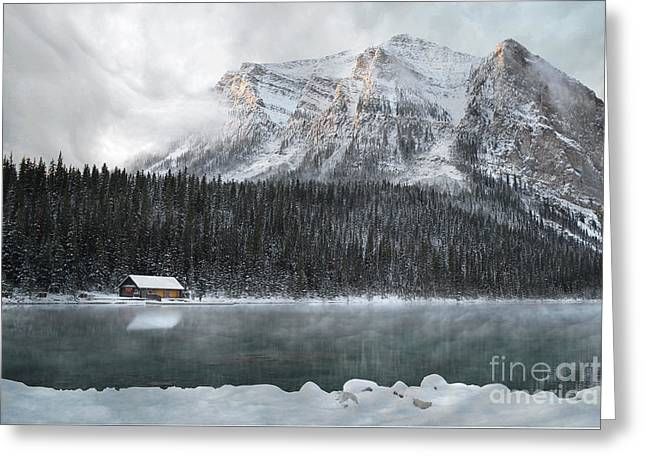 Lake Louise Cabin Morning Greeting Card by Andrea Hazel Ihlefeld