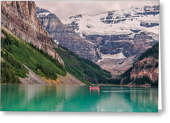 Canoe Greeting Cards - Lake Louise Canoe Greeting Card by James Wheeler