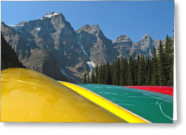 Canoe Photographs Greeting Cards - Lake Louise canoe Greeting Card by Kurt Gustafson