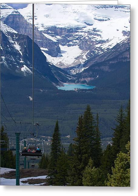 Chateau Greeting Cards - Lake Louise Gondola Greeting Card by Stuart Litoff