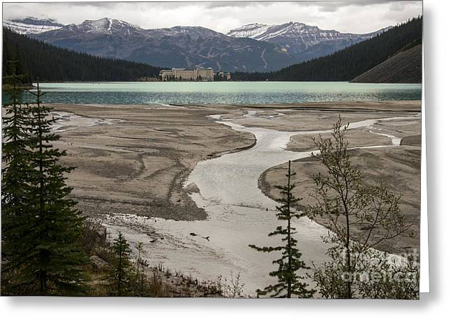 Chateau Greeting Cards - Lake Louise Grand View Greeting Card by Bob Phillips