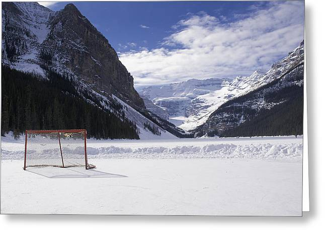 Alberta Landscape Greeting Cards - Lake Louise Hockey Net Greeting Card by Bill Cubitt