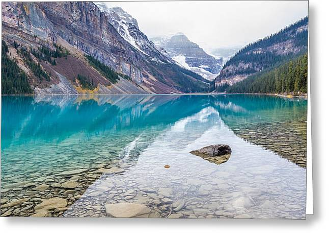 Reflection Of Rocks In Water Greeting Cards - Lake Louise in Banff National Park Alberta Greeting Card by Pierre Leclerc Photography