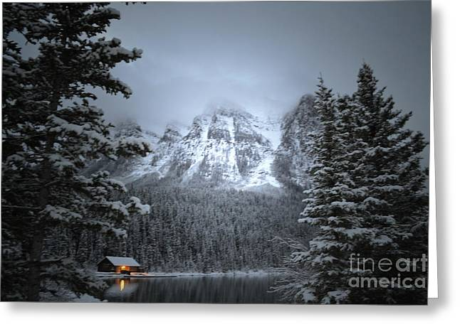 Log Cabins Framed Prints Greeting Cards - Lake Louise Log Cabin Snow Greeting Card by Andrea Hazel Ihlefeld