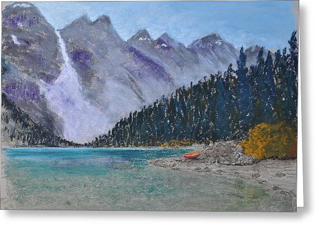 Canoe Pastels Greeting Cards - Lake Louise Greeting Card by Marina Garrison
