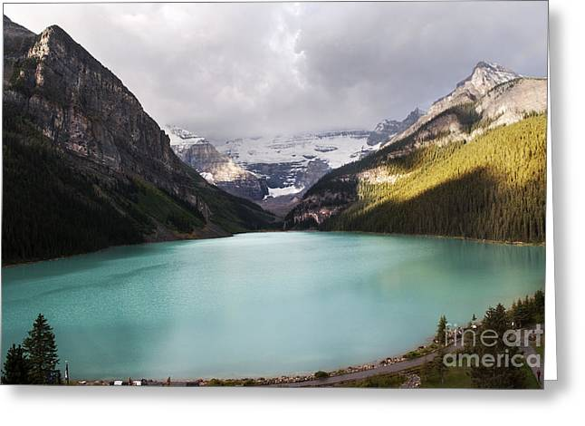Rocky Mountains Greeting Cards - Lake Louise panorama Greeting Card by Yuri Santin