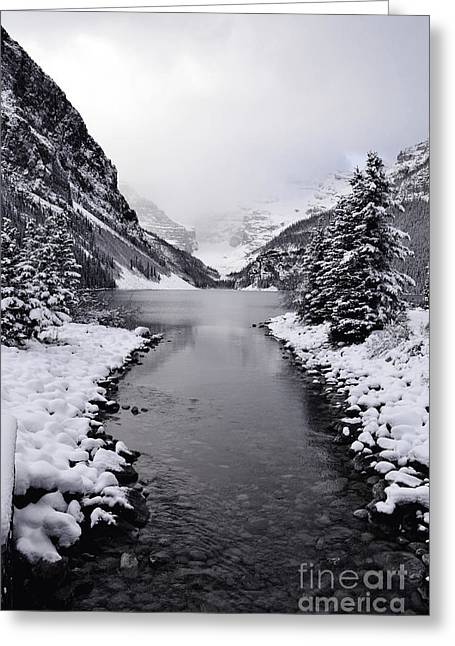 Winter White Fine Art Snow And Trees Greeting Cards - Lake Louise Snow Mountain Greeting Card by Andrea Hazel Ihlefeld