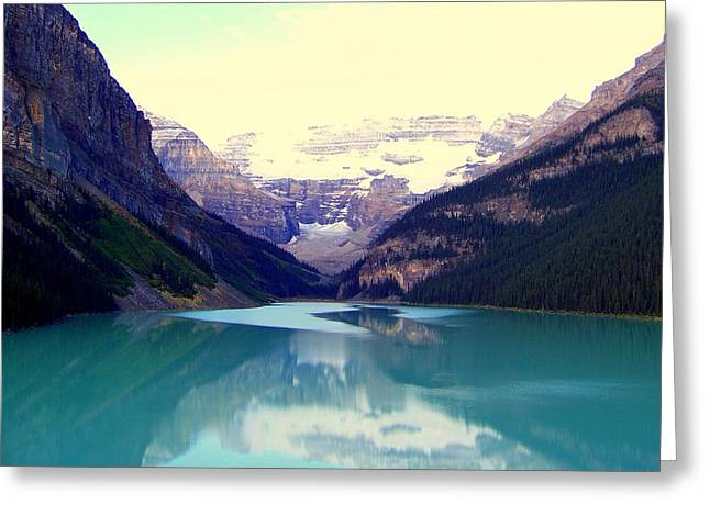 Calm Waters Greeting Cards - Lake Louise Stillness Greeting Card by Karen Wiles