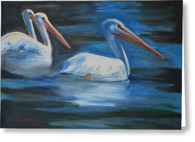 Pelican Art Greeting Cards - Lake Loveland Visitors Greeting Card by Billie Colson