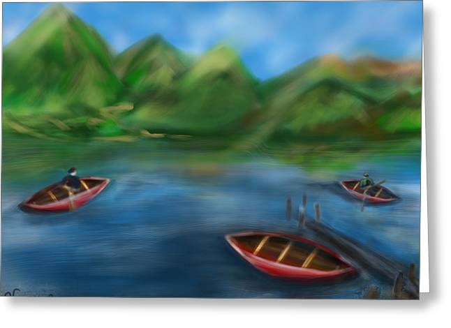 Canoe Paintings Greeting Cards - Lake Lovely Greeting Card by Christine Fournier