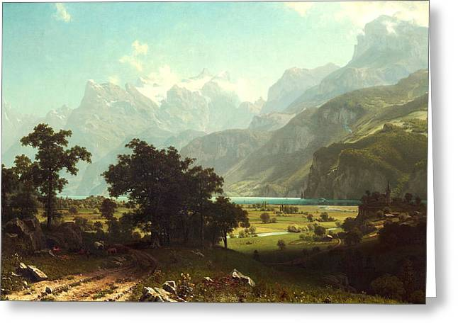 Snow-covered Landscape Digital Art Greeting Cards - Lake Lucerne Greeting Card by Albert Bierstadt