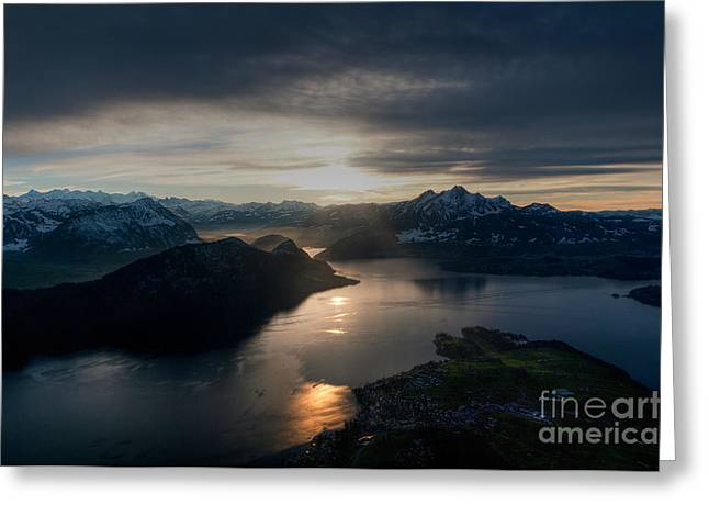 Caroline Pirskanen Greeting Cards - Lake Lucerne Greeting Card by Caroline Pirskanen