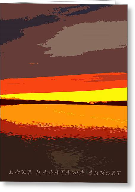 Sunset Posters Greeting Cards - Lake Macatawa Sunset Greeting Card by Michelle Calkins