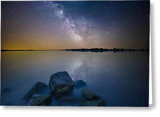 Blending Greeting Cards - Lake Madison Milky Way Greeting Card by Aaron J Groen