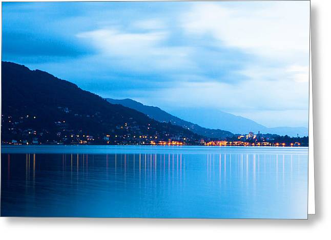 Swiss Greeting Cards - Lake Maggiore Before Sunrise Greeting Card by Susan  Schmitz