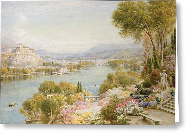 Charming Town Greeting Cards - Lake Maggiore Greeting Card by Ebenezer Wake-Cook