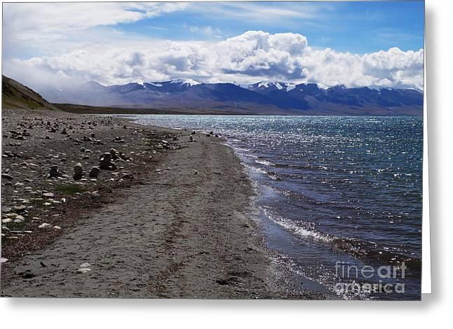 Parvathi Greeting Cards - Lake Manasarovar Tibet Greeting Card by Moira Rowe