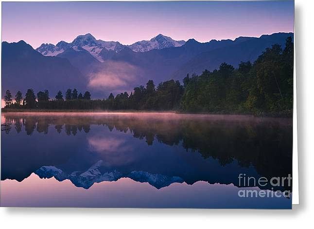Acryl Greeting Cards - Lake Matheson Greeting Card by Henk Meijer Photography