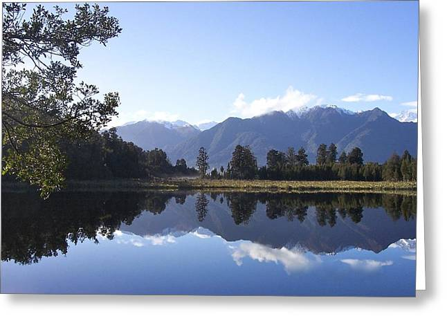 Aotearoa Greeting Cards - Lake Matheson New Zealand Greeting Card by Jill Blackwood