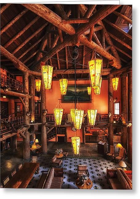 Lake Mcdonald Greeting Cards - Lake McDonald Lodge Greeting Card by Mark Kiver