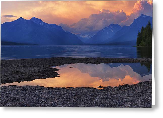 Beauty Mark Greeting Cards - Lake McDonald Sunset Greeting Card by Mark Kiver