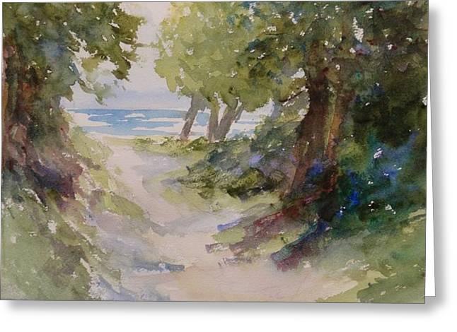 Lake Michigan Beach Path Greeting Card by Sandra Strohschein